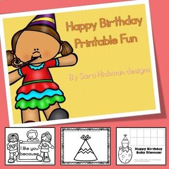 Birthday Printable Activities