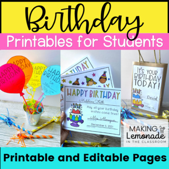 Birthday Printables, Cards, Activities, Classroom Decor, and More for Grades K-3