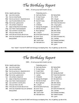 Birthday Report (informational writing)