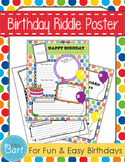 Birthday Riddle Poster- Fun and easy way to celebrate birthdays