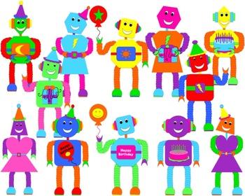 Birthday Robot Clip Art