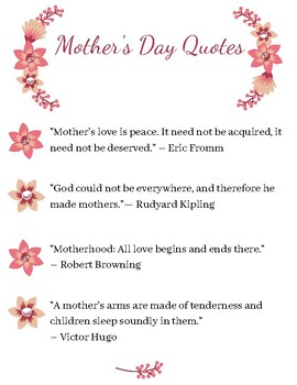 Mother\'s Day Quotes by CraftyBunnyClub | Teachers Pay Teachers