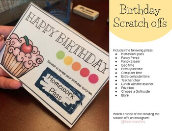 Birthday Scratch offs