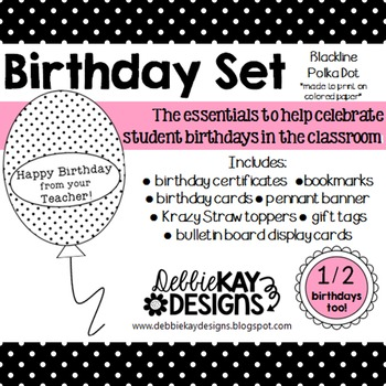 Birthday Set - Blackline Polka Dot