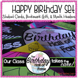 Birthday Set: Bulletin Board Headers, Corner Bookmark Gift, Student Card