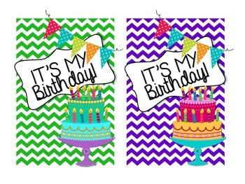 """Chevron Birthday Signs 4x6 """"It's My Birthday!"""""""
