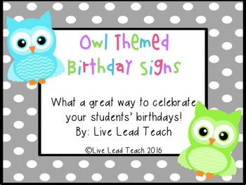 Birthday Signs- Owl Themed