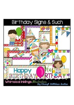 Birthday Signs and Such Clipart Collection
