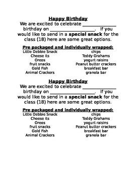 Birthday Snack Note