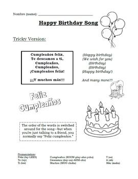Birthday Song in Spanish (Cumpleanos Feliz)