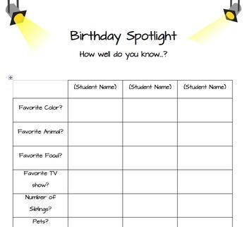 Birthday Spotlight Activity - EDITABLE