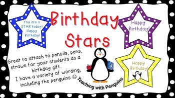 Birthday Star Labels