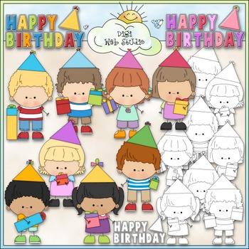 Birthday Stick Kids 1 - Commercial Use Clip Art & Black & White Images