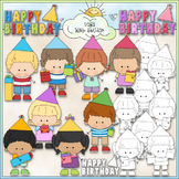 Birthday Stick Kids 1 - Commercial Use Clip Art & Black &