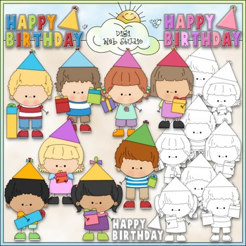 Birthday Stick Kids 1 - Commercial Use Clip Art & Black &