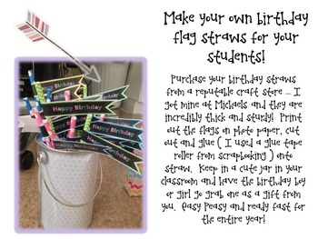 Birthday Straw Flags * freebie * { easy to print and make }