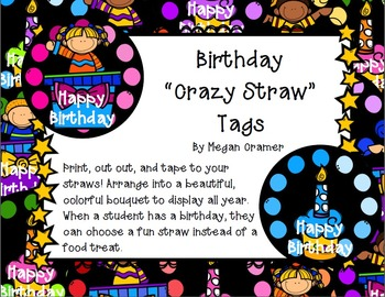 Birthday Straw Tags
