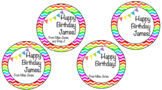 Birthday Straw/ pencil toppers rainbow EDITABLE