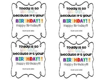 Birthday Sunglasses Tag