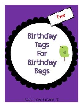 Birthday Tags for Birthday Bags {FREEBIE}
