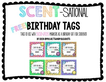 Birthday Tags for Scentos markers