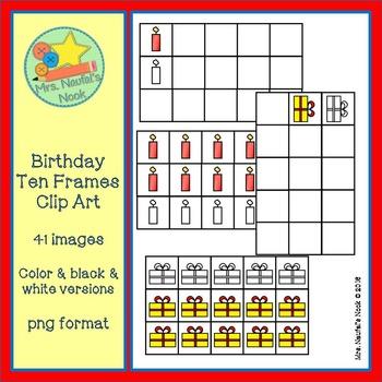 Ten Frames Clip Art - Birthday