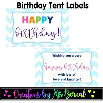 Birthday Tent Labels | Tent Tags