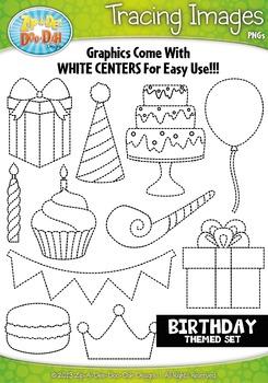 Birthday Tracing Image Clipart {Zip-A-Dee-Doo-Dah Designs}