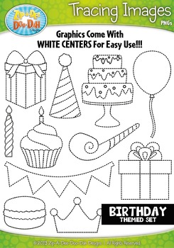 Birthday Themed Tracing Image Clipart Set — Includes 20 Graphics!