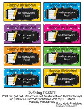 Birthday Tickets {FREEBIE} No Homework Passes