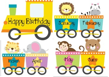Birthday Train Display Jungle Animals - Editable