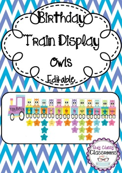 Birthday Train Display Owls - Editable