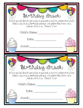 Birthday Treat Cards