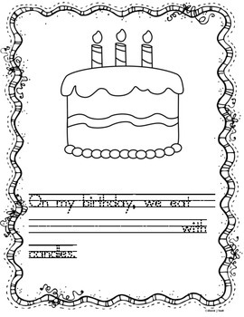 Birthday Unit Journal Writing Prompts