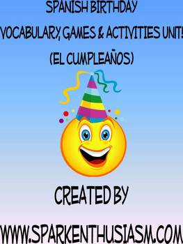 Birthday Vocabulary Activities & Games Unit in Spanish (El cumpleanos)