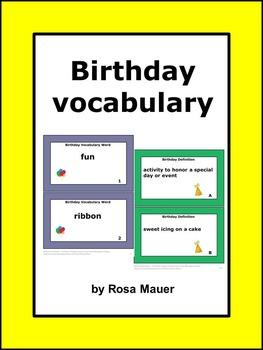 Birthday Vocabulary Activity