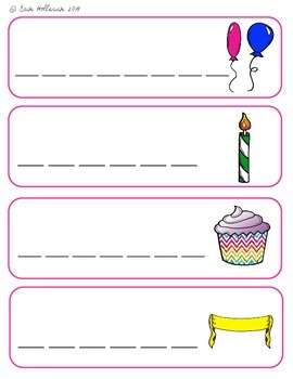 Birthday Vocabulary Cards and Spelling Practice