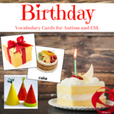 Birthday Vocabulary Cards for Autism and ESL