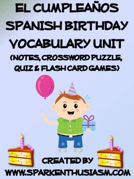 Birthday Vocabulary Lists, Activities, Crossword, Games, and Quiz Unit