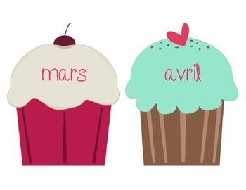 Birthday Wall Cupcakes - French // Gateaux avec les mois de l'année