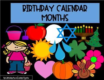 Birthday Calendar Months- 2 Designs!