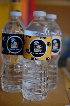 Birthday Water Bottle Labels - Pirate Black and yellow