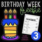 Birthday Week Freebie #3 - Student Favorites Worksheet