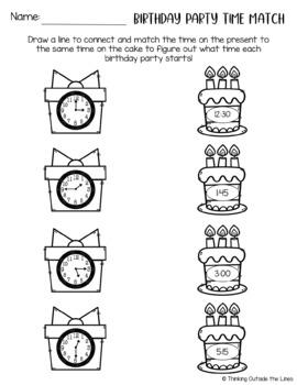 Birthday Week Freebie #6 - Analog and Digital Clock Matching Worksheets