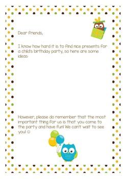 Birthday Wishlist for Kids
