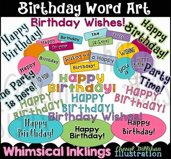 Birthday Word Art Clipart