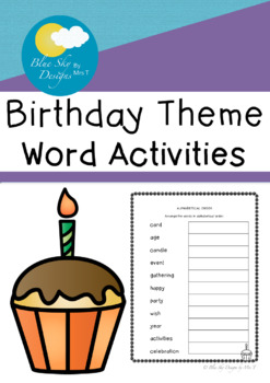 Birthday Word Activities