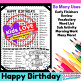 Birthday Word Search Activity Puzzle