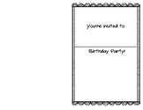 Birthday Writing Center/ Dramatic Play Invitation