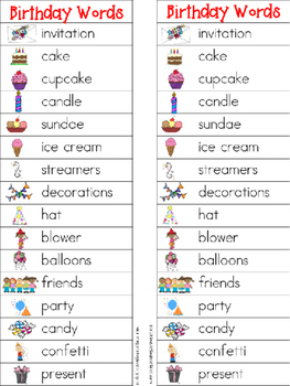Birthday Writing Center Tools: Holidays and Celebration Words